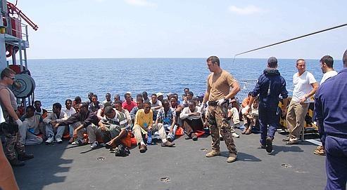 Ile de Lampedusa pt de débarquement des clandestins.jpg