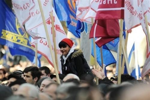 Georgie manifestants Tbilissi 13 avril 09.jpg