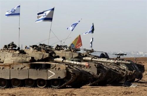 Chars avec drapeaux israel 26.01.09.jpg